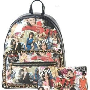 Michelle Obama Magazine Print Backpack/Wallet Set